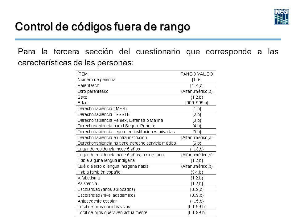 Control de códigos fuera de rango Para la tercera sección del cuestionario que corresponde a las características de las personas: