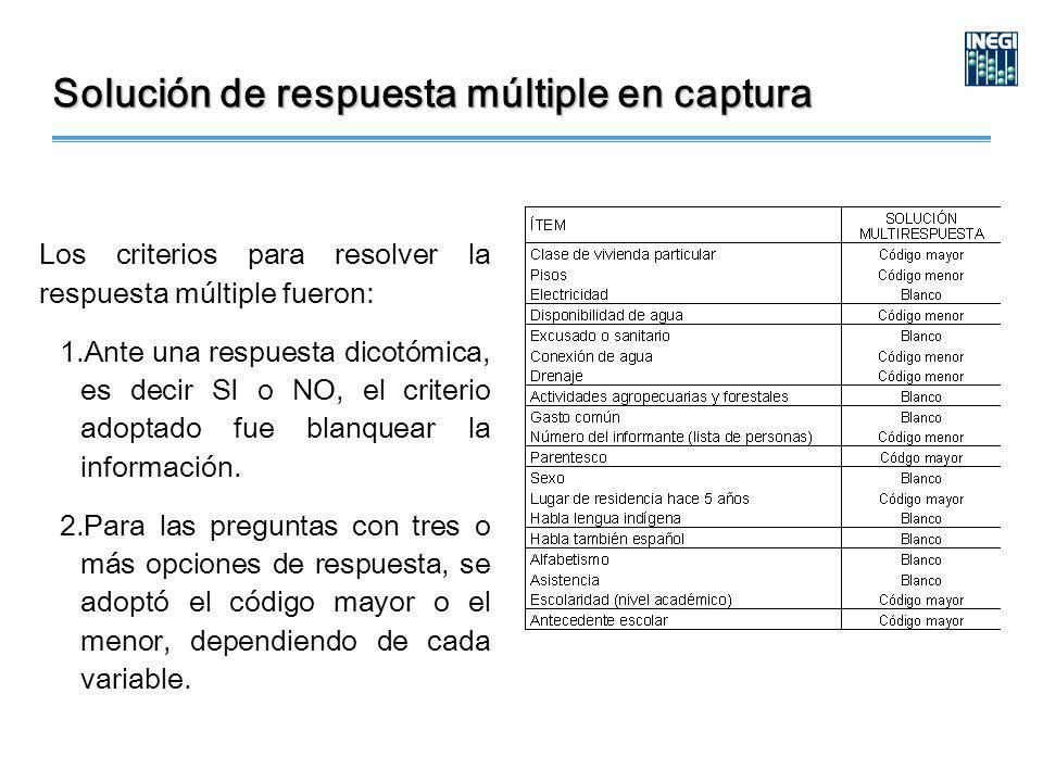 Solución de respuesta múltiple en captura Los criterios para resolver la respuesta múltiple fueron: 1.Ante una respuesta dicotómica, es decir SI o NO, el criterio adoptado fue blanquear la información.