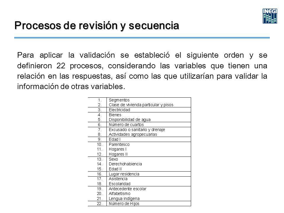 Para aplicar la validación se estableció el siguiente orden y se definieron 22 procesos, considerando las variables que tienen una relación en las respuestas, así como las que utilizarían para validar la información de otras variables.