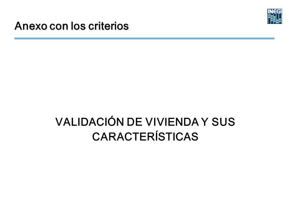 Anexo con los criterios VALIDACIÓN DE VIVIENDA Y SUS CARACTERÍSTICAS