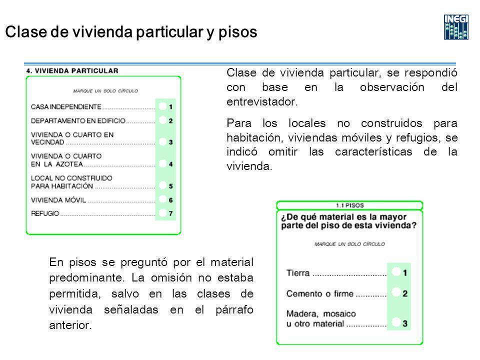 Clase de vivienda particular y pisos Clase de vivienda particular, se respondió con base en la observación del entrevistador.