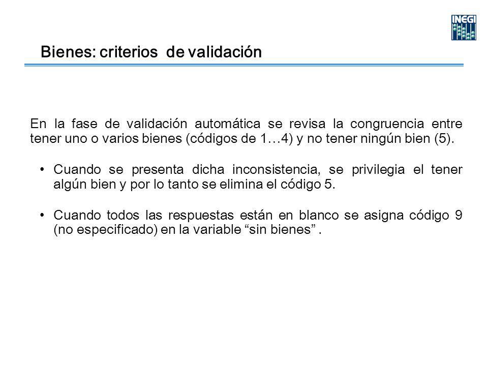 Bienes: criterios de validación En la fase de validación automática se revisa la congruencia entre tener uno o varios bienes (códigos de 1…4) y no tener ningún bien (5).