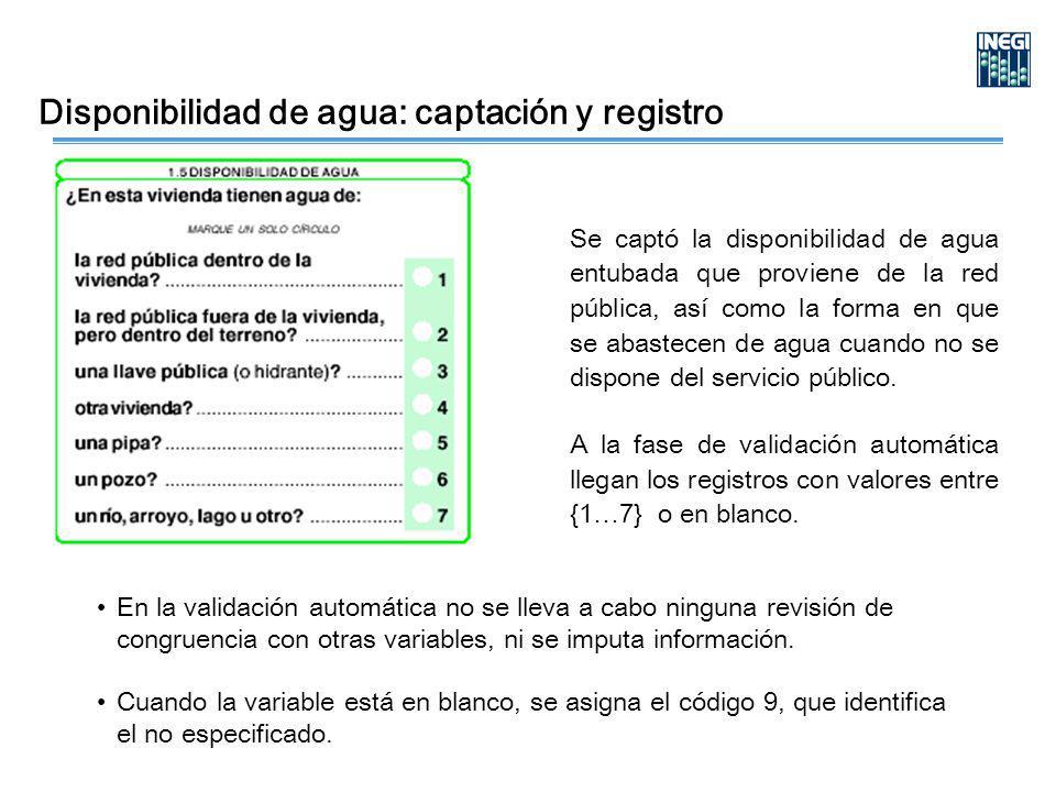 Disponibilidad de agua: captación y registro Se captó la disponibilidad de agua entubada que proviene de la red pública, así como la forma en que se abastecen de agua cuando no se dispone del servicio público.