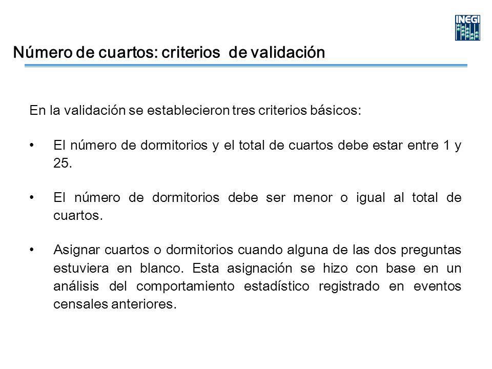 Número de cuartos: criterios de validación En la validación se establecieron tres criterios básicos: El número de dormitorios y el total de cuartos debe estar entre 1 y 25.
