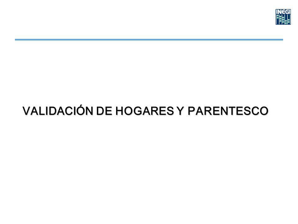 VALIDACIÓN DE HOGARES Y PARENTESCO