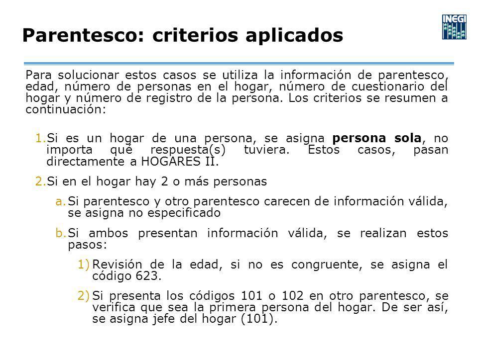 Para solucionar estos casos se utiliza la información de parentesco, edad, número de personas en el hogar, número de cuestionario del hogar y número de registro de la persona.
