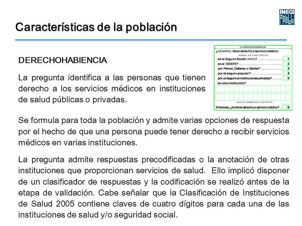 DERECHOHABIENCIA La pregunta identifica a las personas que tienen derecho a los servicios médicos en instituciones de salud públicas o privadas.