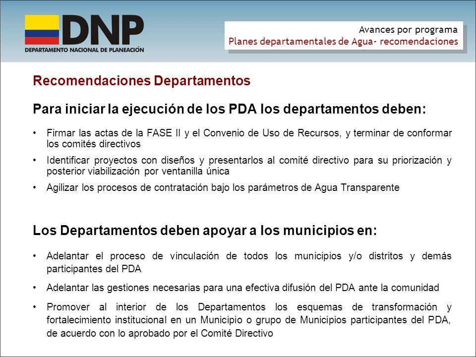 Recomendaciones Departamentos Para iniciar la ejecución de los PDA los departamentos deben: Firmar las actas de la FASE II y el Convenio de Uso de Rec