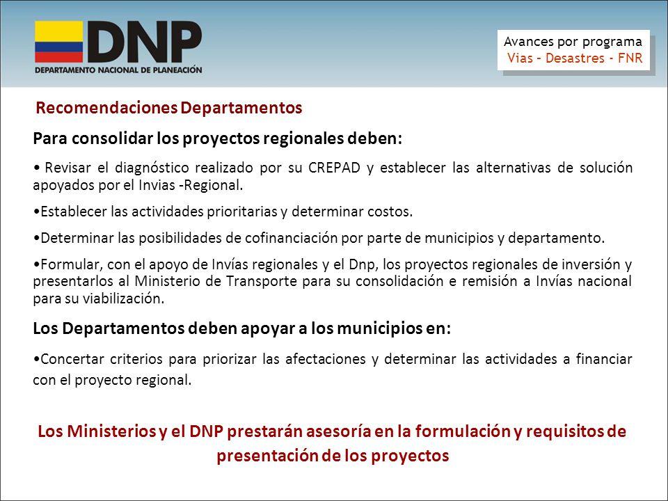 Recomendaciones Departamentos Para consolidar los proyectos regionales deben: Revisar el diagnóstico realizado por su CREPAD y establecer las alternativas de solución apoyados por el Invias -Regional.