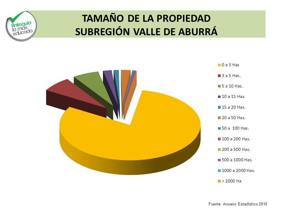 TAMAÑO DE LA PROPIEDAD SUBREGIÓN VALLE DE ABURRÁ Fuente: Anuario Estadístico 2010