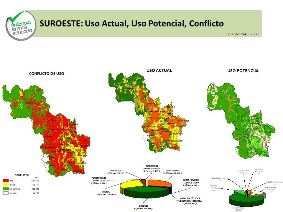 SUROESTE: Uso Actual, Uso Potencial, Conflicto USO POTENCIAL USO ACTUAL USO POTENCIAL Fuente: IGAC, 2007