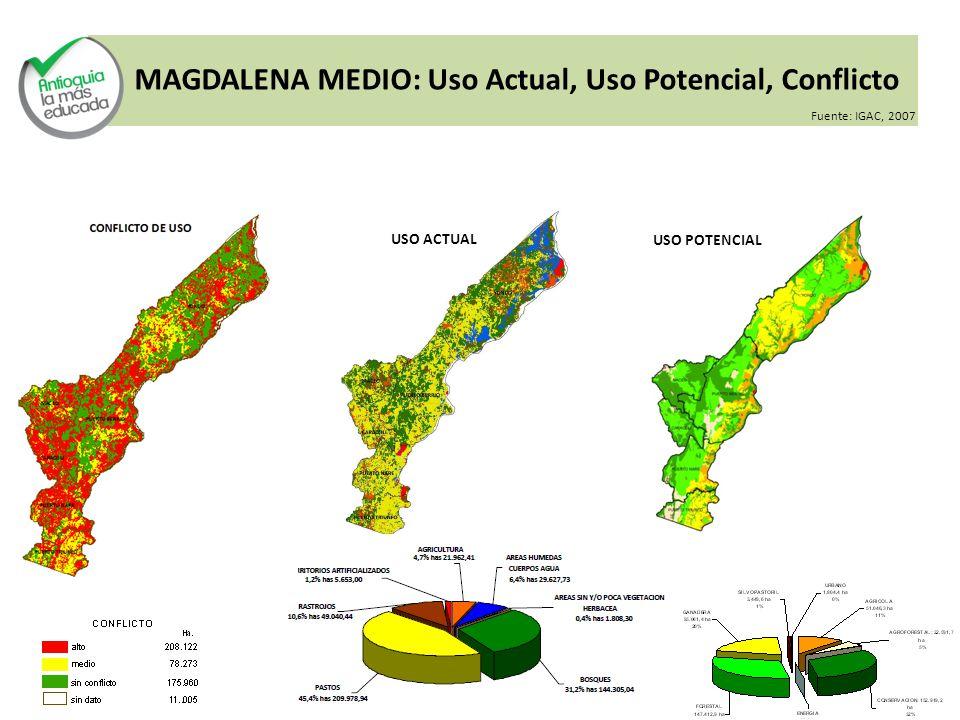 MAGDALENA MEDIO: Uso Actual, Uso Potencial, Conflicto USO ACTUAL USO POTENCIAL Fuente: IGAC, 2007