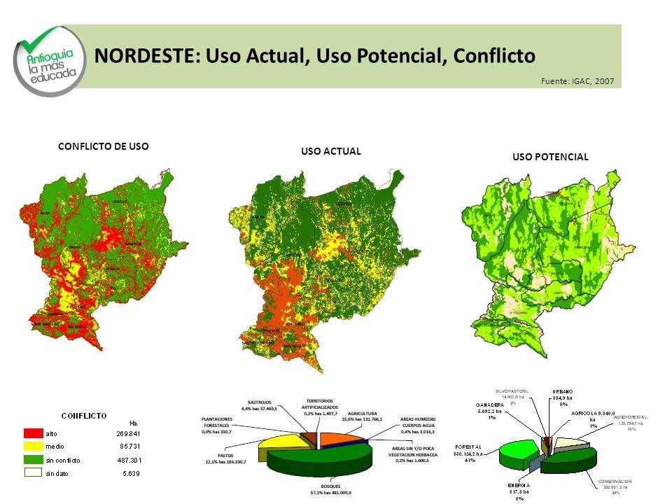 NORDESTE: Uso Actual, Uso Potencial, Conflicto Fuente: IGAC, 2007 USO ACTUAL USO POTENCIAL CONFLICTO DE USO