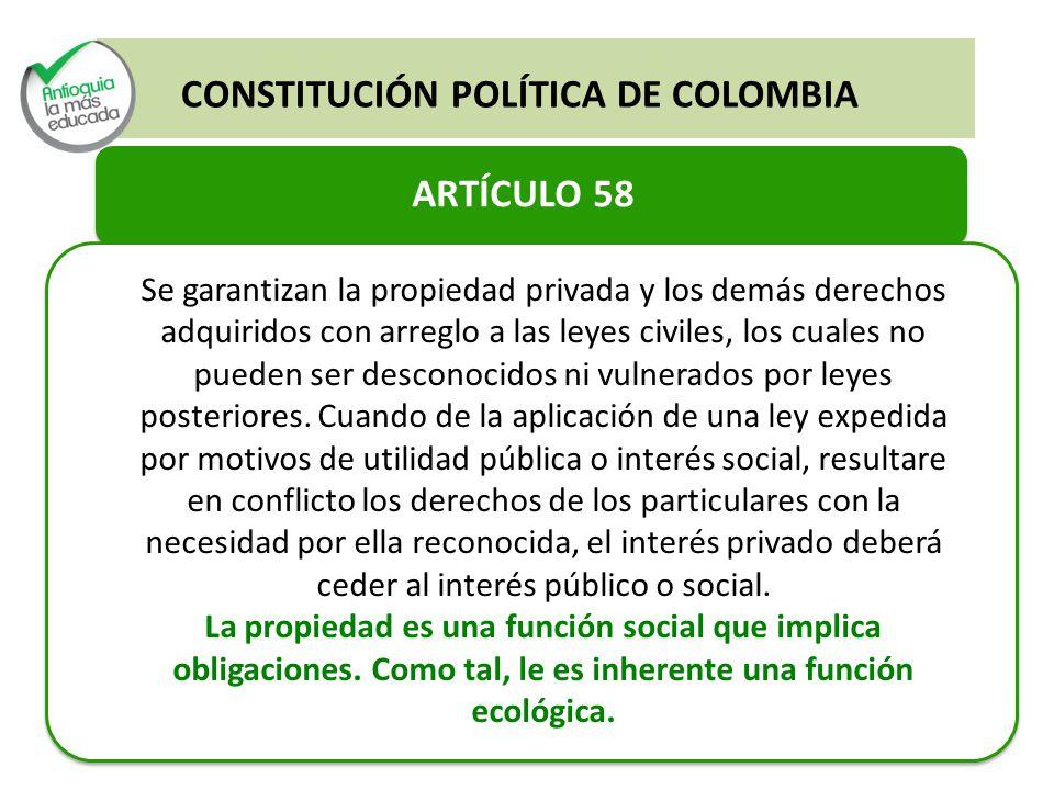 CONSTITUCIÓN POLÍTICA DE COLOMBIA ARTÍCULO 58 Se garantizan la propiedad privada y los demás derechos adquiridos con arreglo a las leyes civiles, los cuales no pueden ser desconocidos ni vulnerados por leyes posteriores.