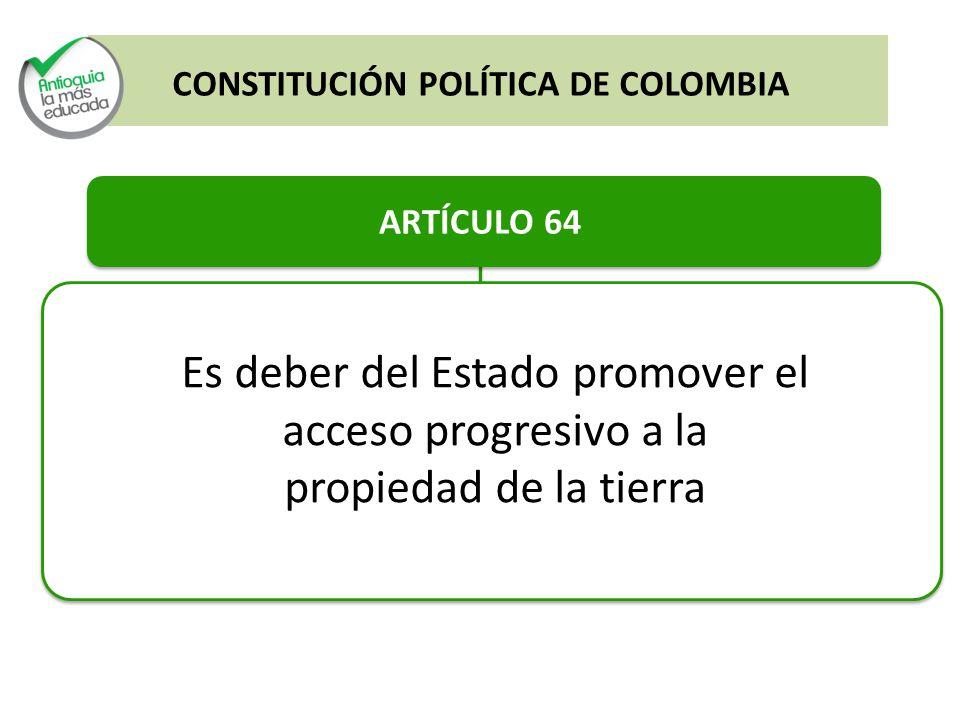ARTÍCULO 64 Es deber del Estado promover el acceso progresivo a la propiedad de la tierra CONSTITUCIÓN POLÍTICA DE COLOMBIA