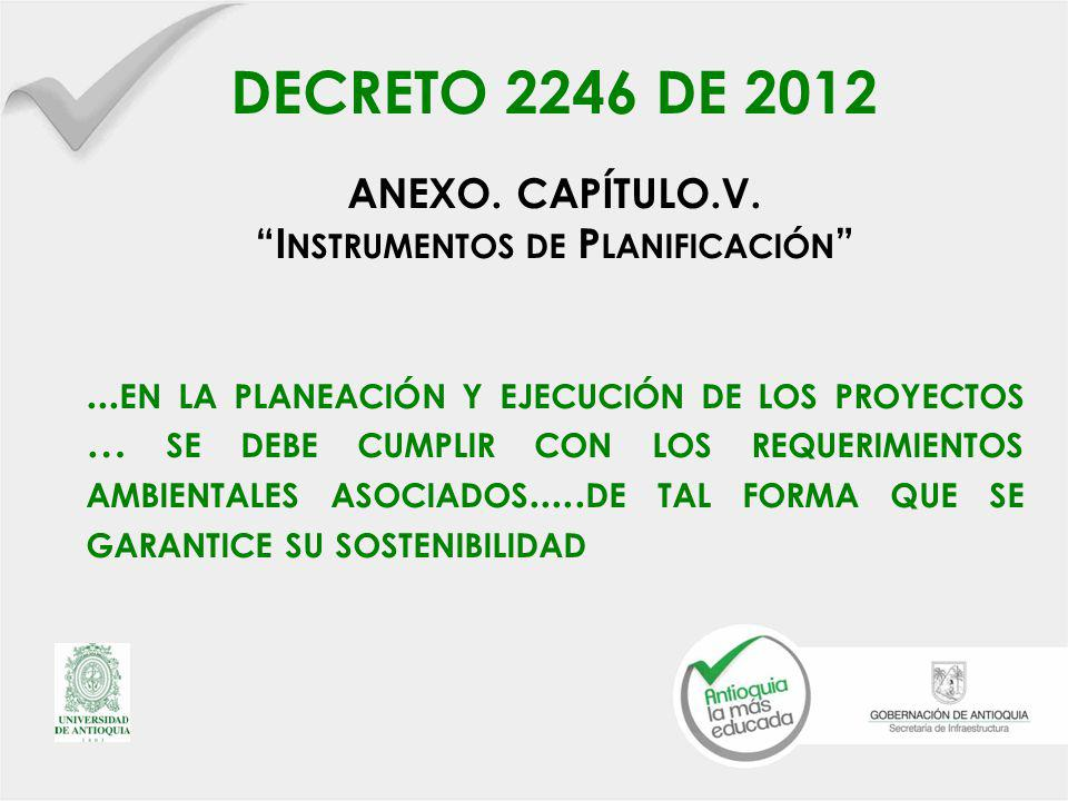 DECRETO 2246 DE 2012 ANEXO.CAPÍTULO.V. I NSTRUMENTOS DE P LANIFICACIÓN...