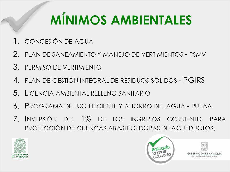MÍNIMOS AMBIENTALES 1.CONCESIÓN DE AGUA 2. PLAN DE SANEAMIENTO Y MANEJO DE VERTIMIENTOS - PSMV 3.