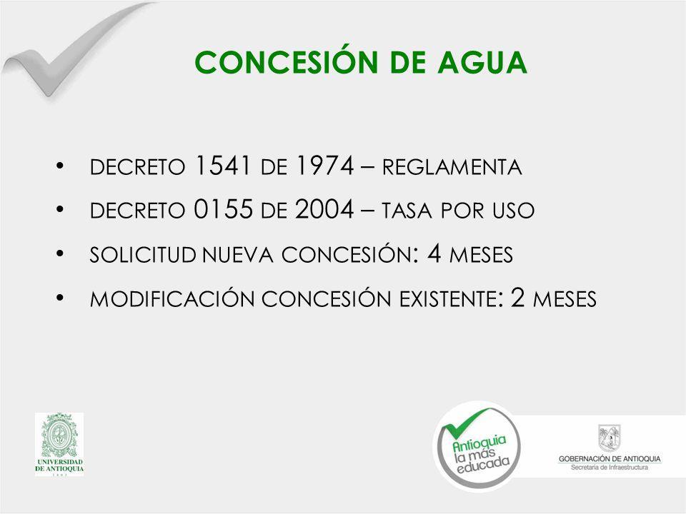CONCESIÓN DE AGUA DECRETO 1541 DE 1974 – REGLAMENTA DECRETO 0155 DE 2004 – TASA POR USO SOLICITUD NUEVA CONCESIÓN : 4 MESES MODIFICACIÓN CONCESIÓN EXISTENTE : 2 MESES