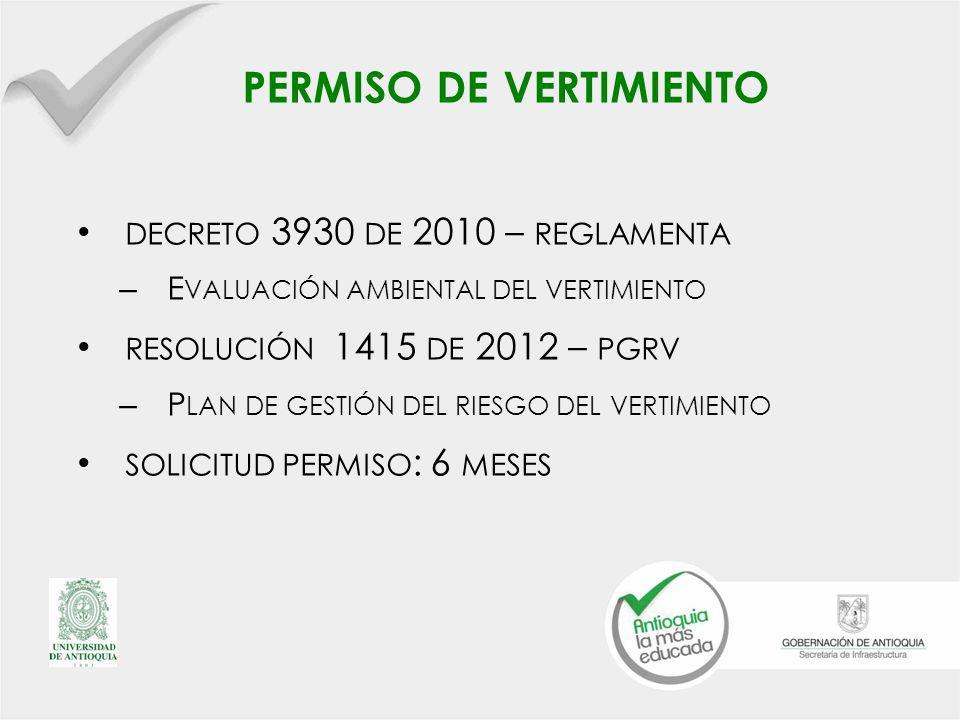 PERMISO DE VERTIMIENTO DECRETO 3930 DE 2010 – REGLAMENTA – E VALUACIÓN AMBIENTAL DEL VERTIMIENTO RESOLUCIÓN 1415 DE 2012 – PGRV – P LAN DE GESTIÓN DEL RIESGO DEL VERTIMIENTO SOLICITUD PERMISO : 6 MESES