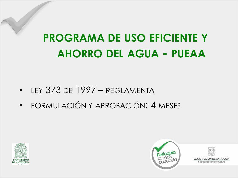 PROGRAMA DE USO EFICIENTE Y AHORRO DEL AGUA - PUEAA LEY 373 DE 1997 – REGLAMENTA FORMULACIÓN Y APROBACIÓN : 4 MESES
