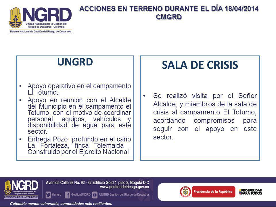 ACCIONES EN TERRENO DURANTE EL DÍA 18/04/2014 CMGRD UNGRD Apoyo operativo en el campamento El Totumo.