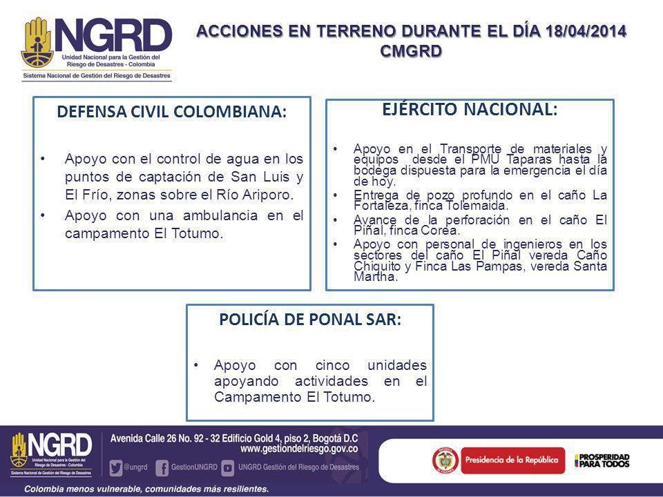 ACCIONES EN TERRENO DURANTE EL DÍA 18/04/2014 CMGRD DEFENSA CIVIL COLOMBIANA: Apoyo con el control de agua en los puntos de captación de San Luis y El Frío, zonas sobre el Río Ariporo.