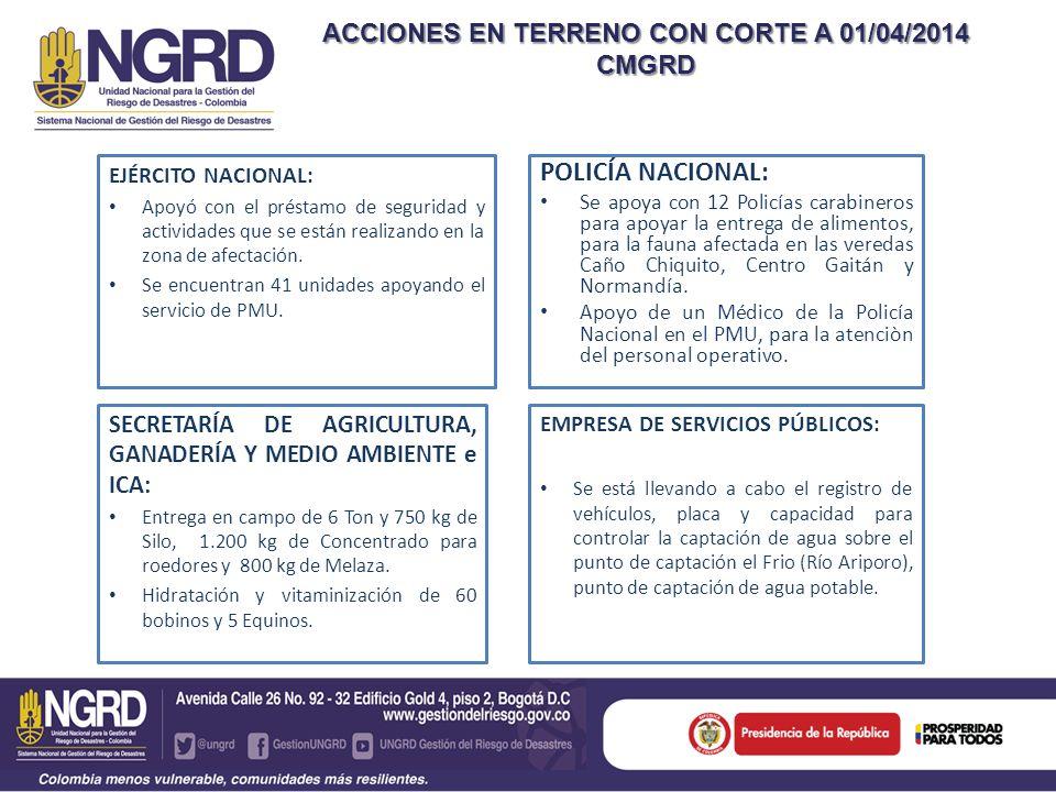 ACCIONES EN TERRENO CON CORTE A 01/04/2014 CMGRD EJÉRCITO NACIONAL: Apoyó con el préstamo de seguridad y actividades que se están realizando en la zon