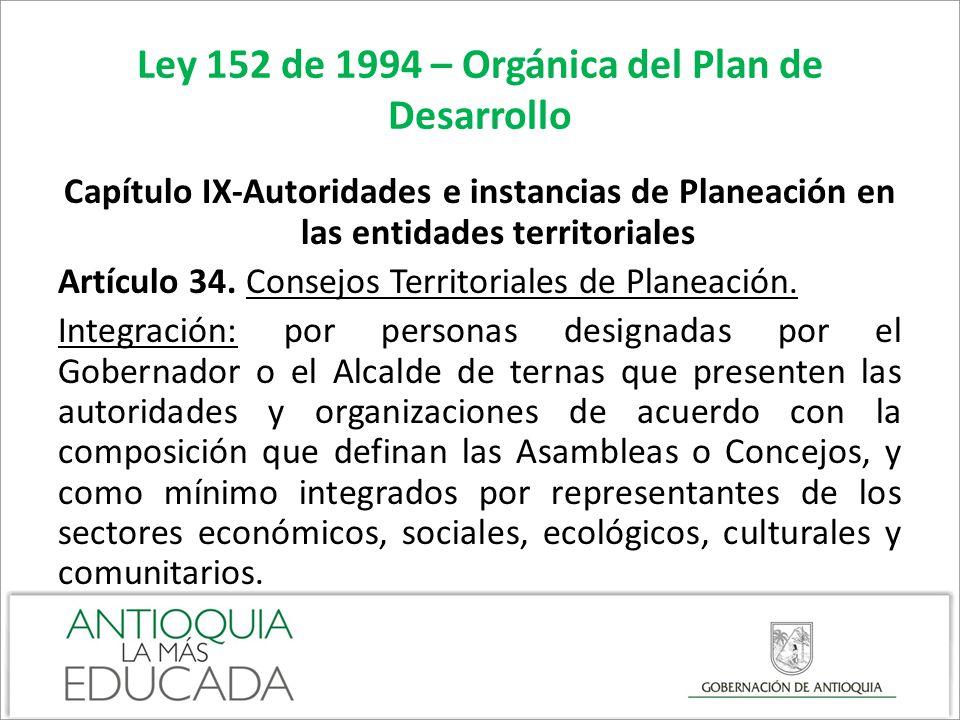 Ley 152 de 1994 – Orgánica del Plan de Desarrollo Capítulo IX-Autoridades e instancias de Planeación en las entidades territoriales Artículo 34. Conse