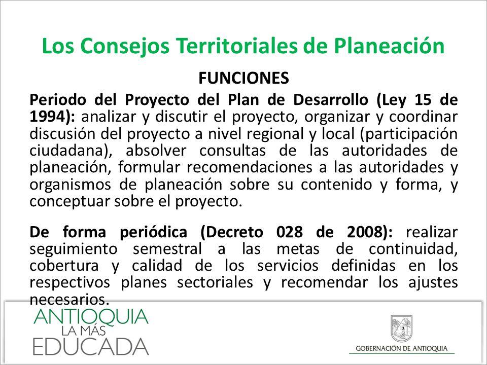 Los Consejos Territoriales de Planeación FUNCIONES Periodo del Proyecto del Plan de Desarrollo (Ley 15 de 1994): analizar y discutir el proyecto, orga