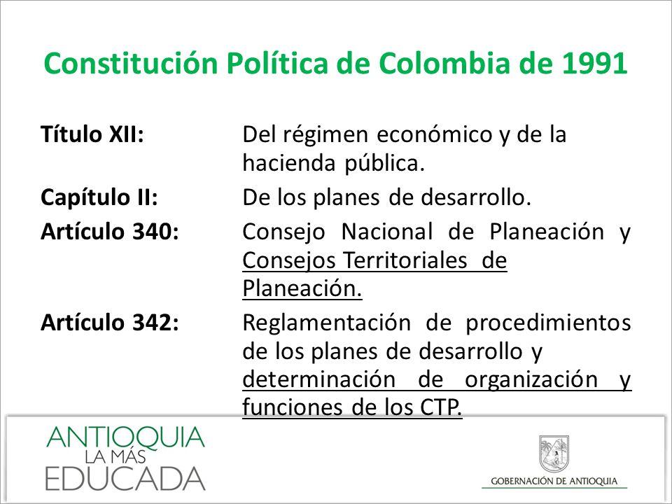 Constitución Política de Colombia de 1991 Artículo 340 Establece que habrá un Consejo Nacional de Planeación, sus integrantes, su carácter consultivo y de foro para discusión del PND, la designación por el Presidente de la República, su periodo y renovación, la existencia de Consejos Territoriales de Planeación y la constitución del Sistema Nacional de Planeación.