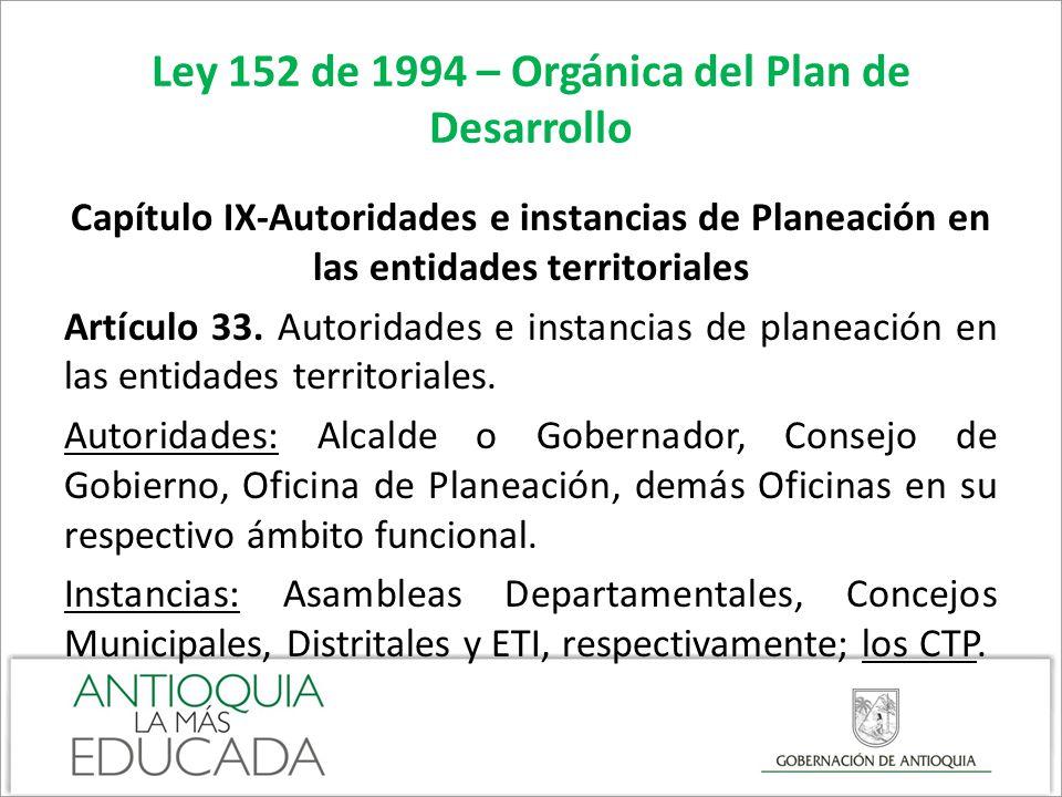 Ley 152 de 1994 – Orgánica del Plan de Desarrollo Capítulo IX-Autoridades e instancias de Planeación en las entidades territoriales Artículo 34.