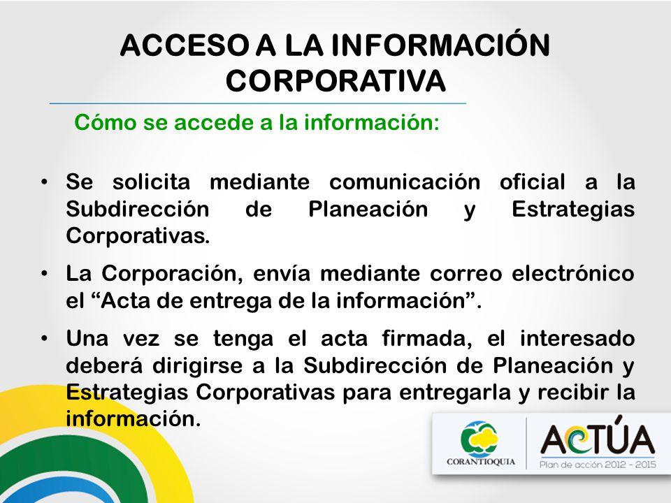 Cómo se accede a la información: Se solicita mediante comunicación oficial a la Subdirección de Planeación y Estrategias Corporativas. La Corporación,