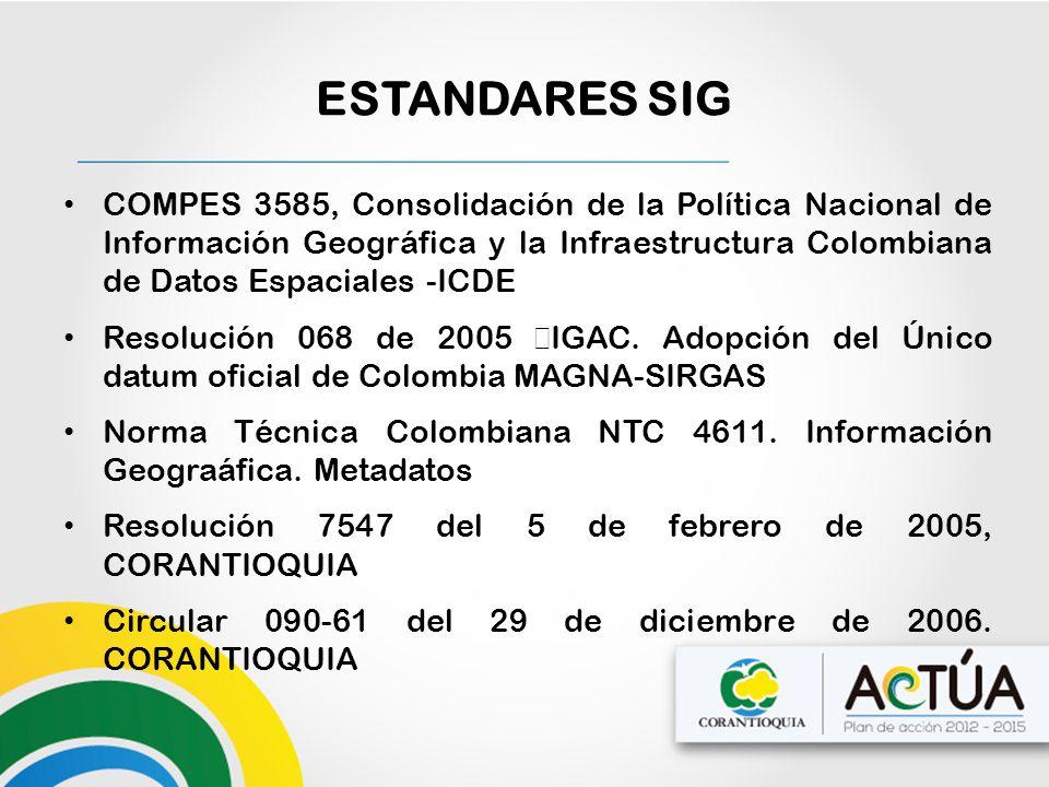 ESTANDARES SIG COMPES 3585, Consolidación de la Política Nacional de Información Geográfica y la Infraestructura Colombiana de Datos Espaciales -ICDE