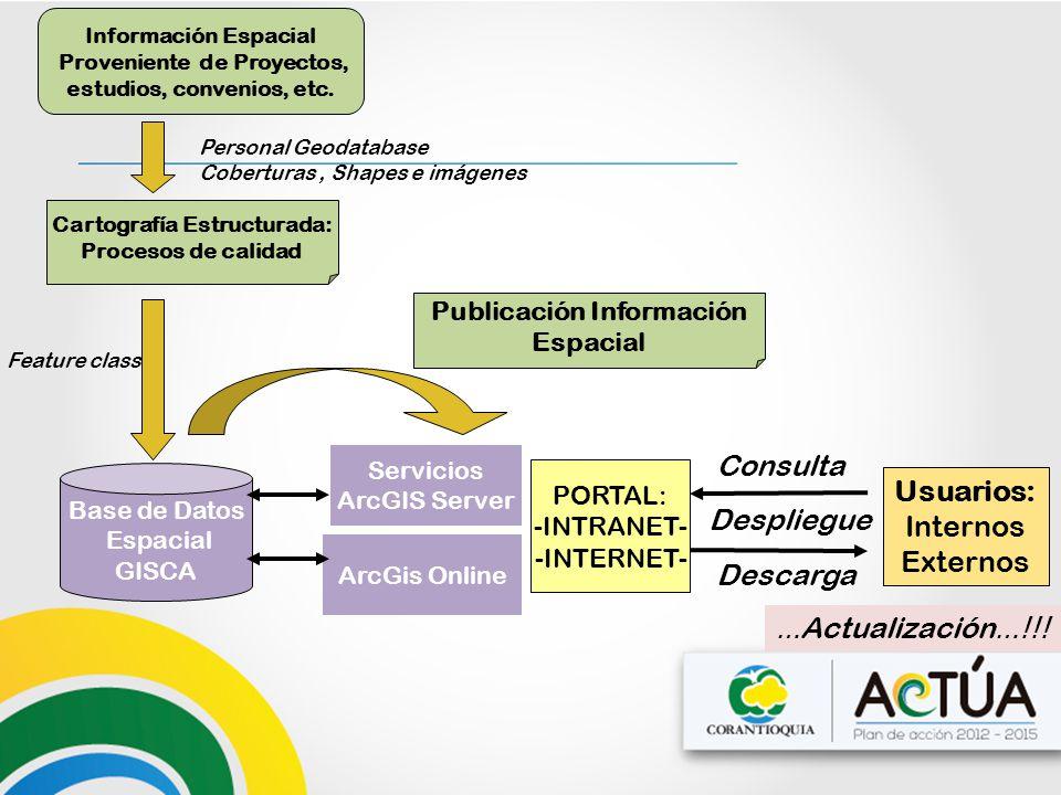 Base de Datos Espacial GISCA PORTAL: -INTRANET- -INTERNET- Usuarios: Internos Externos Servicios ArcGIS Server Despliegue Información Espacial Proveni