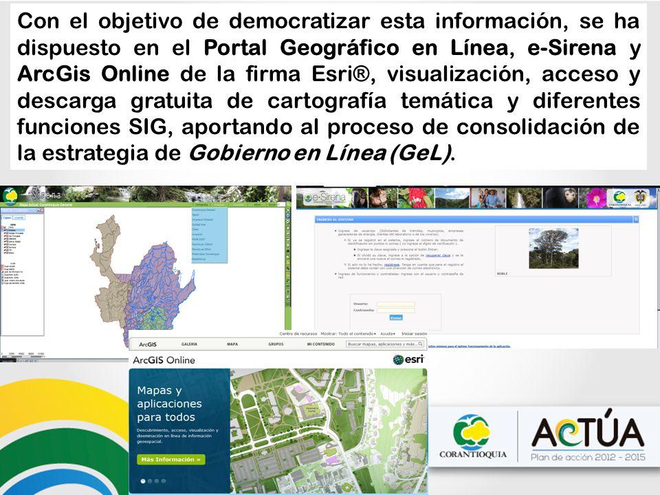 Con el objetivo de democratizar esta información, se ha dispuesto en el Portal Geográfico en Línea, e-Sirena y ArcGis Online de la firma Esri®, visual