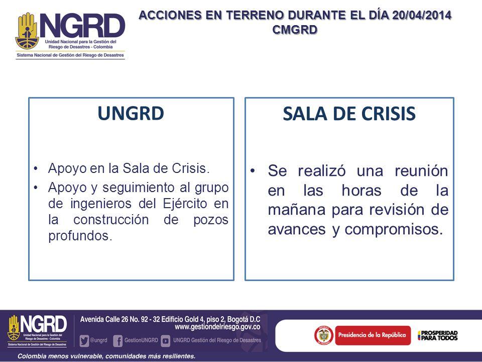 ACCIONES EN TERRENO DURANTE EL DÍA 20/04/2014 CMGRD UNGRD Apoyo en la Sala de Crisis. Apoyo y seguimiento al grupo de ingenieros del Ejército en la co