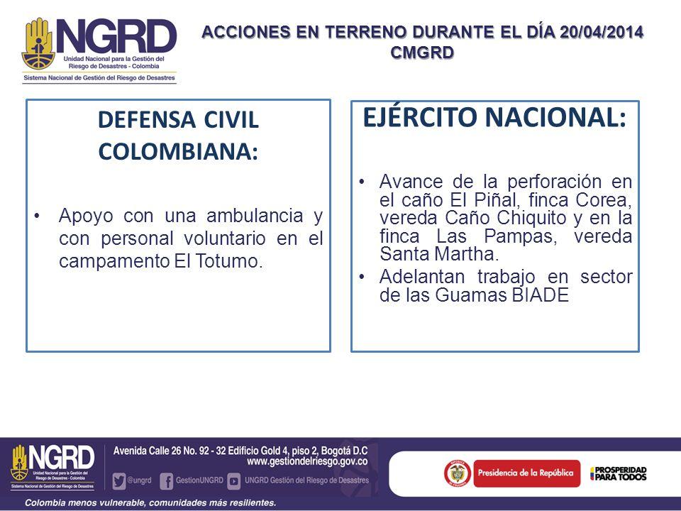 ACCIONES EN TERRENO DURANTE EL DÍA 20/04/2014 CMGRD DEFENSA CIVIL COLOMBIANA: Apoyo con una ambulancia y con personal voluntario en el campamento El T