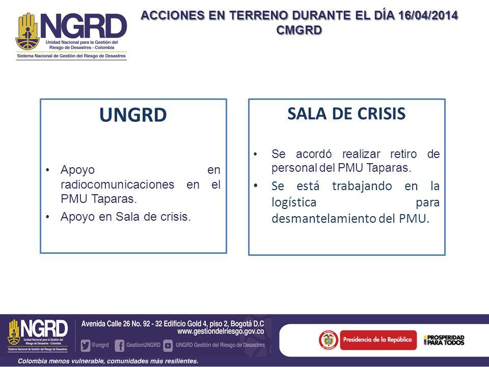 ACCIONES EN TERRENO DURANTE EL DÍA 16/04/2014 CMGRD UNGRD Apoyo en radiocomunicaciones en el PMU Taparas.