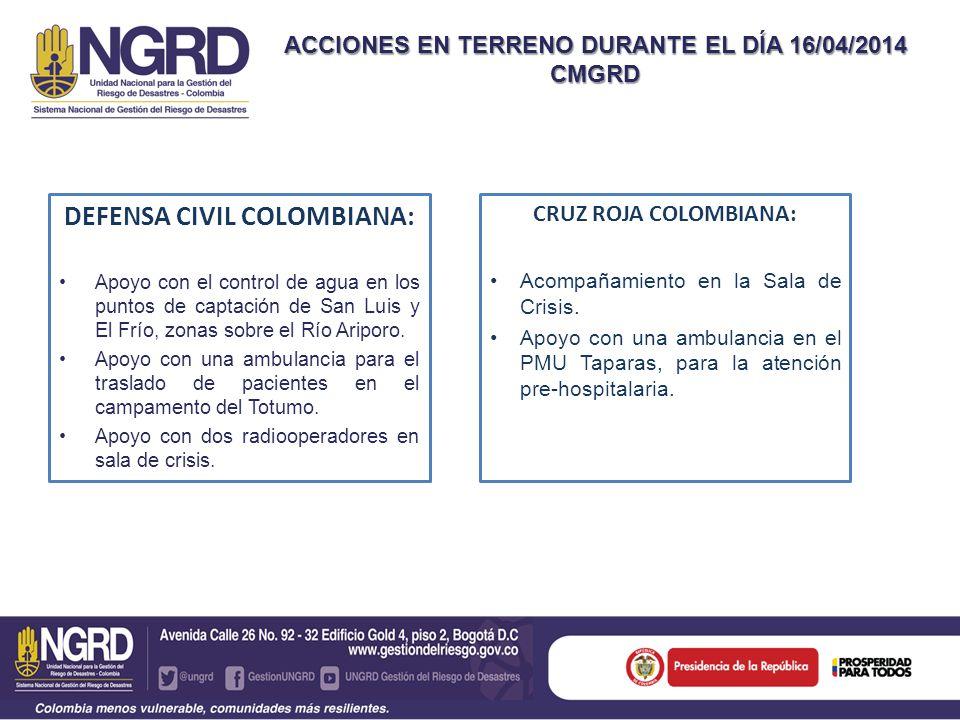 ACCIONES EN TERRENO DURANTE EL DÍA 16/04/2014 CMGRD DEFENSA CIVIL COLOMBIANA: Apoyo con el control de agua en los puntos de captación de San Luis y El Frío, zonas sobre el Río Ariporo.
