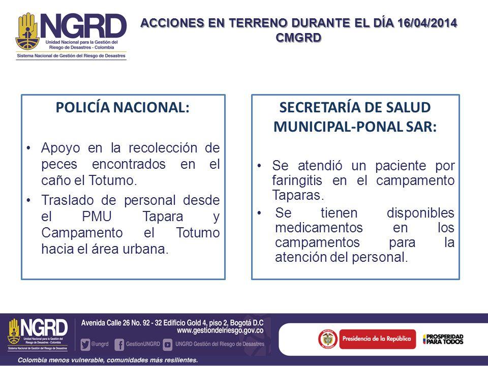 ACCIONES EN TERRENO DURANTE EL DÍA 16/04/2014 CMGRD POLICÍA NACIONAL: Apoyo en la recolección de peces encontrados en el caño el Totumo.