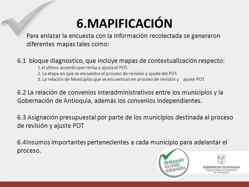 6.MAPIFICACIÓN Para enlazar la encuesta con la información recolectada se generaron diferentes mapas tales como: 6.1 bloque diagnostico, que incluye m