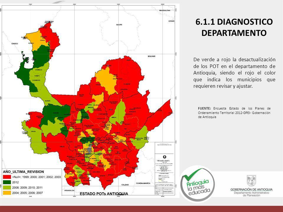De verde a rojo la desactualización de los POT en el departamento de Antioquia, siendo el rojo el color que indica los municipios que requieren revisa