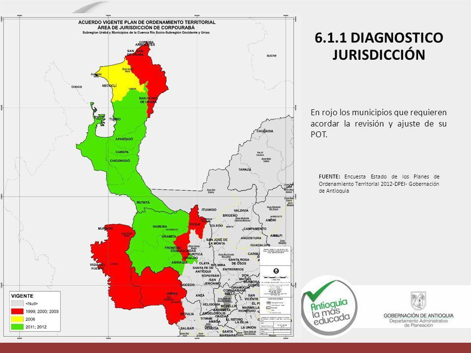 En rojo los municipios que requieren acordar la revisión y ajuste de su POT. 6.1.1 DIAGNOSTICO JURISDICCIÓN FUENTE: Encuesta Estado de los Planes de O