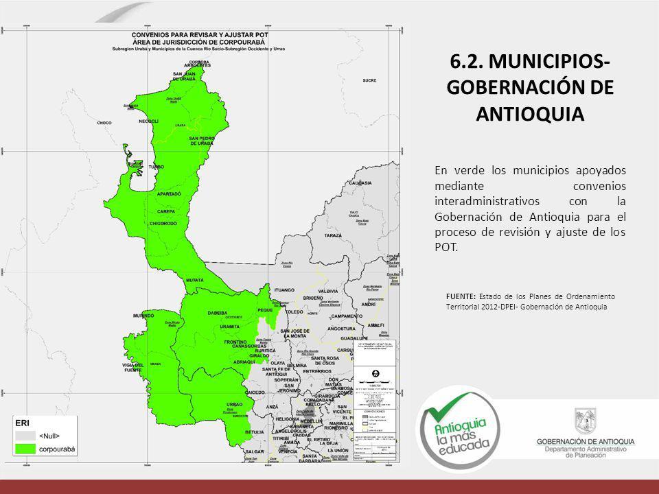 En verde los municipios apoyados mediante convenios interadministrativos con la Gobernación de Antioquia para el proceso de revisión y ajuste de los P