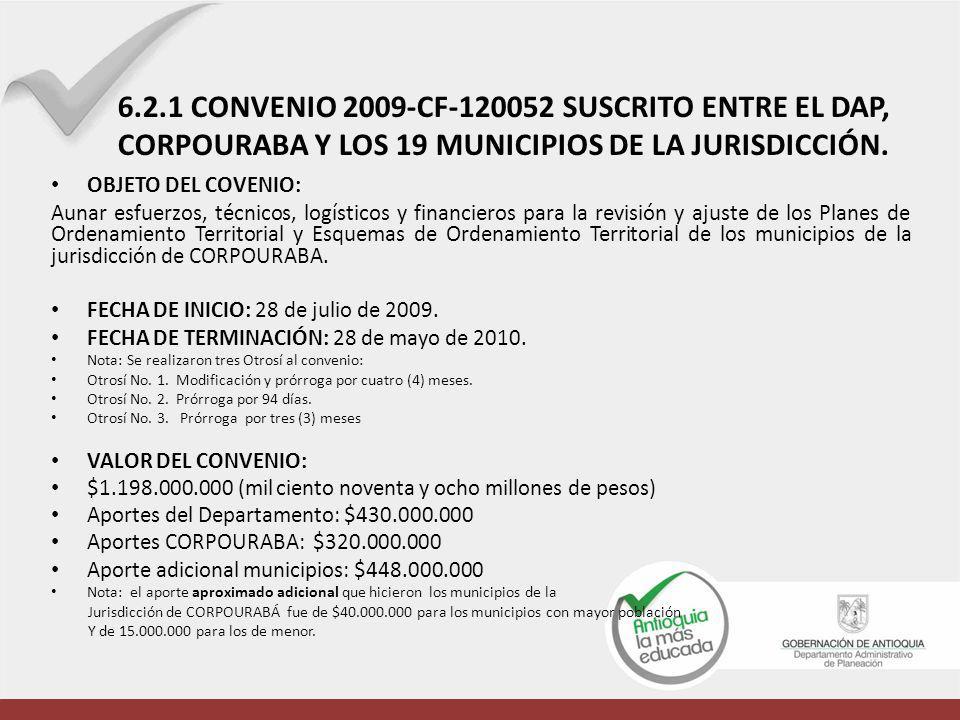 OBJETO DEL COVENIO: Aunar esfuerzos, técnicos, logísticos y financieros para la revisión y ajuste de los Planes de Ordenamiento Territorial y Esquemas