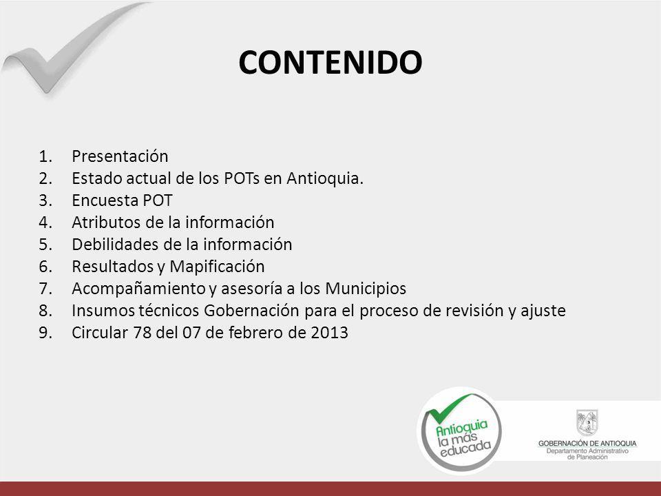 CONTENIDO 1.Presentación 2.Estado actual de los POTs en Antioquia. 3.Encuesta POT 4.Atributos de la información 5.Debilidades de la información 6.Resu
