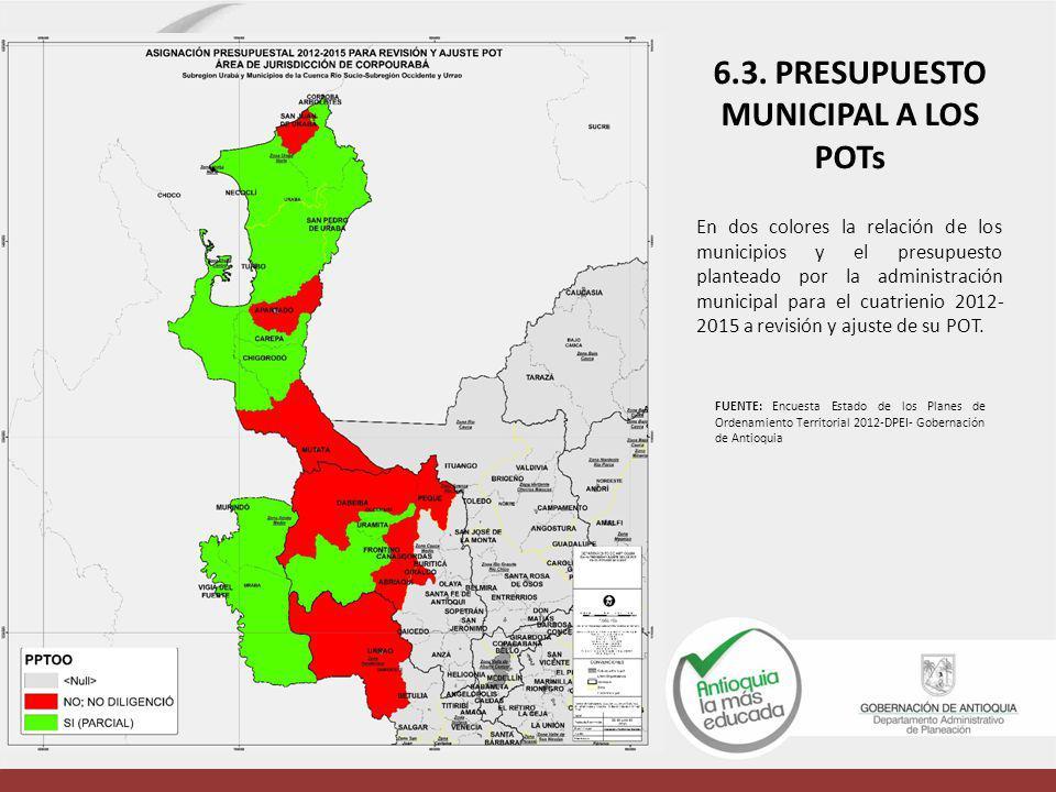 En dos colores la relación de los municipios y el presupuesto planteado por la administración municipal para el cuatrienio 2012- 2015 a revisión y aju