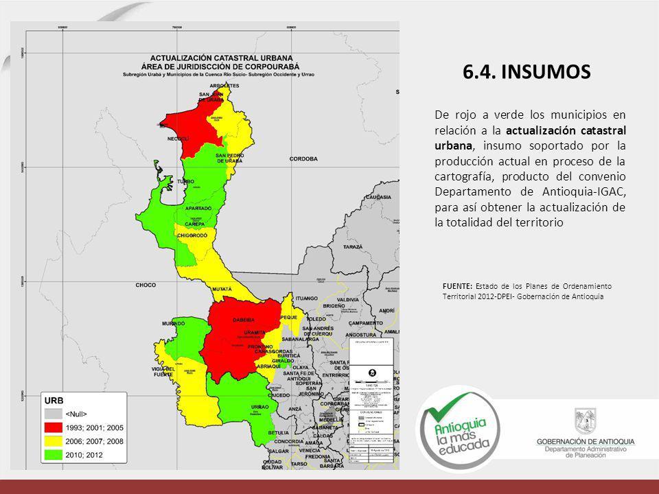 De rojo a verde los municipios en relación a la actualización catastral urbana, insumo soportado por la producción actual en proceso de la cartografía