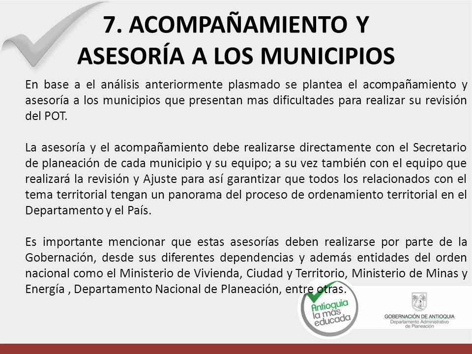 7. ACOMPAÑAMIENTO Y ASESORÍA A LOS MUNICIPIOS En base a el análisis anteriormente plasmado se plantea el acompañamiento y asesoría a los municipios qu
