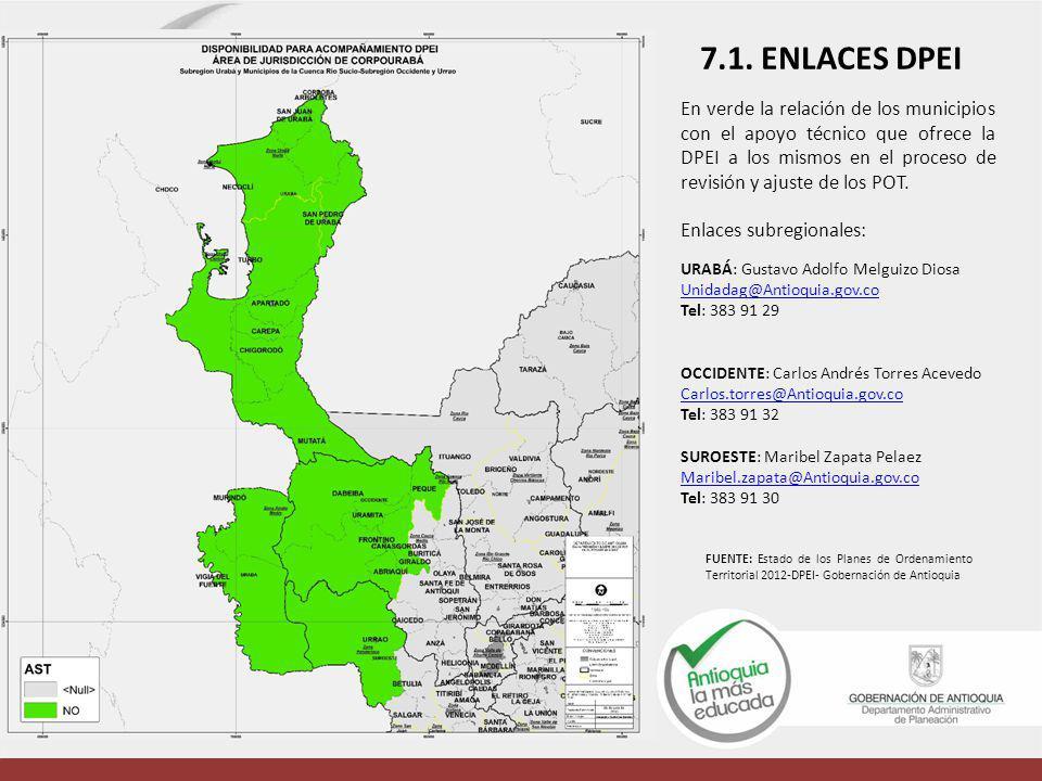 En verde la relación de los municipios con el apoyo técnico que ofrece la DPEI a los mismos en el proceso de revisión y ajuste de los POT. Enlaces sub
